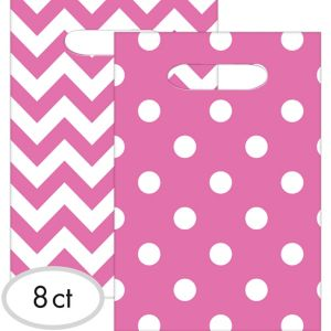 Bright Pink Polka Dot & Chevron Favor Bags 8ct