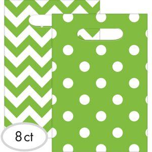 Kiwi Green Polka Dot & Chevron Favor Bags 8ct