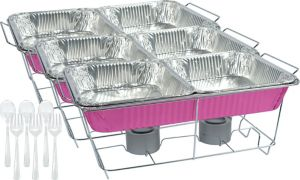 Bright Pink Chafing Dish Buffet Set 24pc