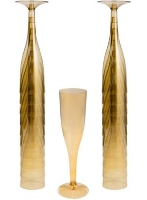 Big Party Pack Gold Plastic Champagne Flutes 20ct
