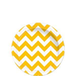 Sunshine Yellow Chevron Paper Dessert Plates 8ct