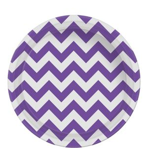 Purple Chevron Paper Lunch Plates 8ct