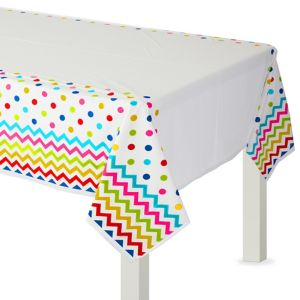 Bright Rainbow Polka Dot & Chevron Plastic Table Cover