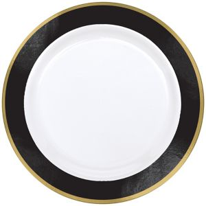Gold & Black Border Premium Plastic Dinner Plates 10ct
