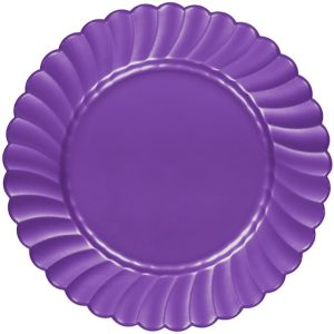 Purple Premium Plastic Scalloped Dinner Plates 12ct