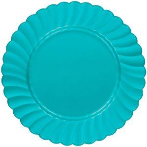 Caribbean Blue Premium Plastic Scalloped Dinner Plates 12ct