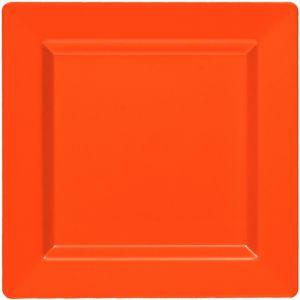 Orange Premium Plastic Square Dinner Plates 10ct