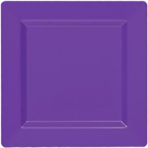 Purple Premium Plastic Square Dinner Plates 10ct