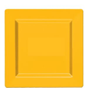 Sunshine Yellow Premium Plastic Square Lunch Plates 10ct