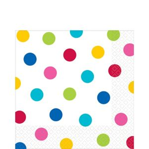 Bright Rainbow Polka Dot Lunch Napkins 16ct