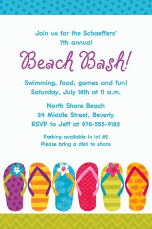 Custom Bright Flip Flop Invitation