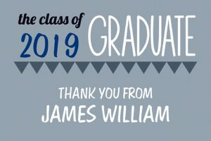 Custom Gray Pennant Banner Graduation Thank You Note