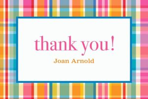Custom Sunny Plaid Thank You Note
