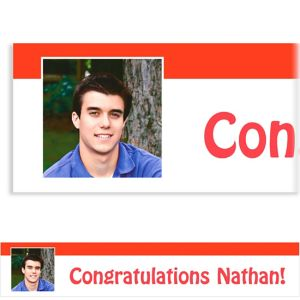Custom Red Block Initial Graduation Photo Banner