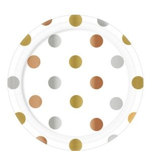 Metallic Polka Dot Paper Lunch Plates 8ct