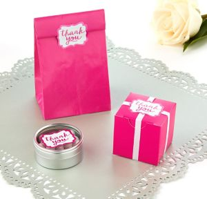 Bright Pink Scroll Thank You Sticker Seals 50ct