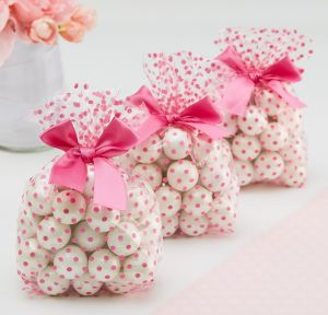 Bright Pink Polka Dot Treat Bags with Bows 12ct