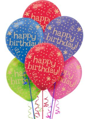 Multicolor Confetti & Streamers Birthday Balloons 20ct