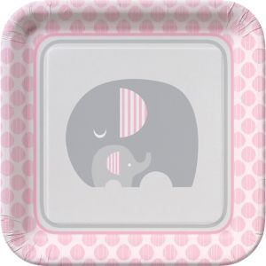 Pink Baby Elephant Lunch Plates 8ct