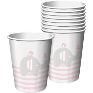 Pink Baby Elephant Paper Cups 8ct