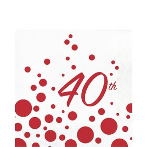 Ruby Dots 40th Anniversary Lunch Napkins 16ct