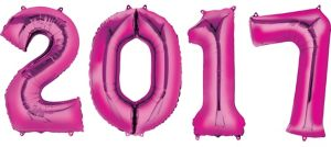 Pink 2017 Number Balloons 4pc