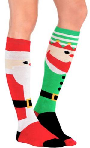 Mismatch Elf & Santa Christmas Knee Socks