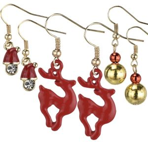 Reindeer & Santa Christmas Earrings Set 6pc