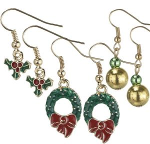 Wreath & Holly Christmas Earrings Set 6pc