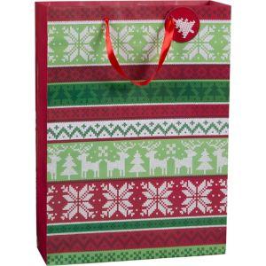 Large Glitter Fair Isle Gift Bag