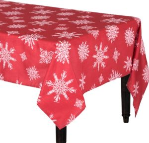 Metallic Red Snowflake Fabric Tablecloth