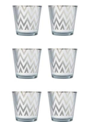 Large Silver Chevron Votive Candle Holders 6ct