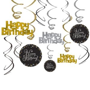 Happy Birthday Swirl Decorations 12ct - Sparkling Celebration