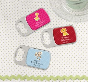 Personalized Baby Shower Bottle Openers - Silver (Printed Epoxy Label) (Bright Pink, Baby Blocks)