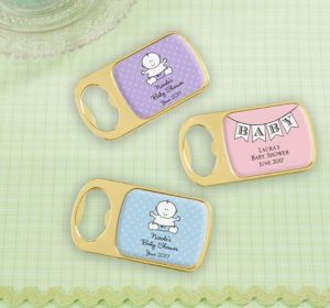 Personalized Baby Shower Bottle Openers - Gold (Printed Epoxy Label) (Bright Pink, Stork)