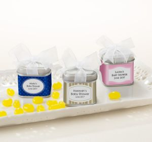 Personalized Baby Shower Favor Tins with Bows, Set of 12 (Printed Label) (Lavender, Stripes)