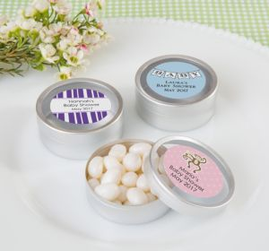 Personalized Round Candy Tins - Silver, Set of 12 (Printed Label) (Lavender, Baby Blocks)