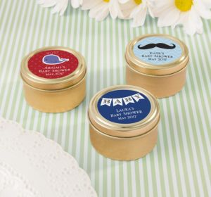 Personalized Baby Shower Round Candy Tins - Gold (Printed Label) (Sky Blue, Mustache)