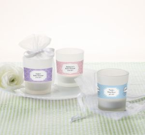 Personalized Baby Shower Glass Votive Candle Holders (Printed Label) (Lavender, Stripes)