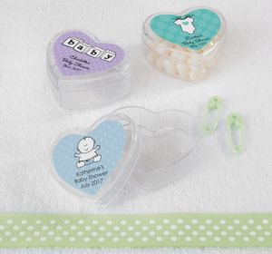 Personalized Baby Shower Heart-Shaped Plastic Favor Boxes, Set of 12 (Printed Label) (Sky Blue, Damask)