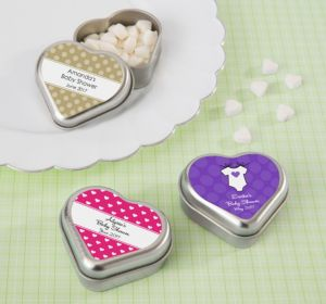 Personalized Baby Shower Heart-Shaped Mint Tins with Candy (Printed Label) (Bright Pink, Stork)