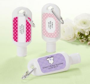 Personalized Baby Shower Sunscreen Favors (Printed Label) (Pink, Pram)