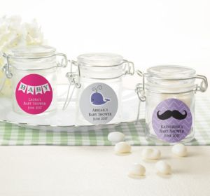 Personalized Baby Shower Small Glass Jars (Printed Label) (Purple, Stork)