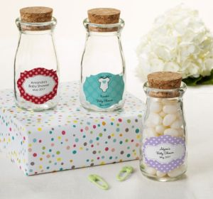 Personalized Baby Shower Glass Milk Bottles with Corks (Printed Label) (Sky Blue, Quatrefoil)