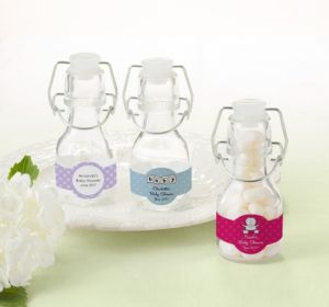 Personalized Baby Shower Glass Swing Top Bottles (Printed Label) (Silver, Bee)