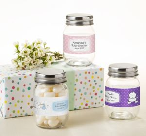 Personalized Baby Shower Mini Glass Mason Jars (Printed Label) (Bright Pink, Monkey)