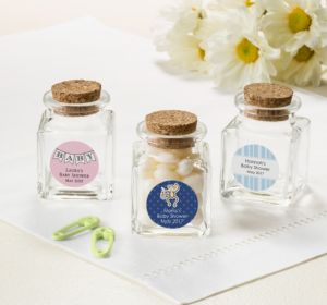 Personalized Baby Shower Small Glass Bottles with Corks (Printed Label) (Navy, Baby Banner)