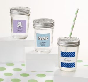 Personalized Baby Shower Mason Jars with Daisy Lids (Printed Label) (Sky Blue, Damask)