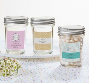 Personalized Baby Shower Mason Jars with Solid Lids (Printed Label) (Silver, Baby Banner)