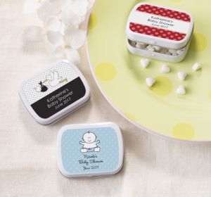 Personalized Baby Shower Mint Tins with Candy (Printed Label) (Red, Baby Banner)